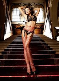 RED FISHNET STOCKINGS & SUSPENDER BELT SET