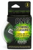'ONE' GLOWING PLEASURES PK OF 3 CONDOMS
