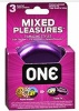 'ONE' MIXED PLEASURES PK OF 3 CONDOMS